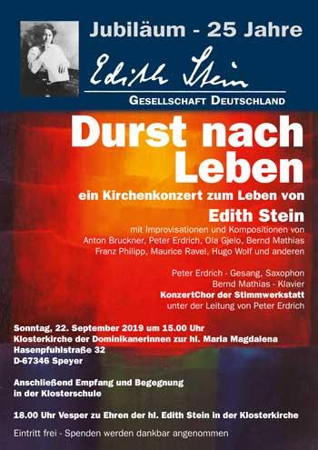Plakat zum Ein Kirchenkonzert zum Leben vonEdith Stein